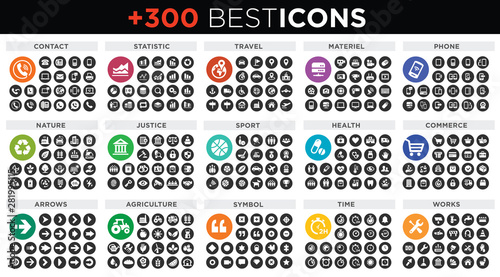 Vászonkép Pack of icons  vector collection