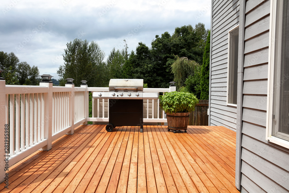 Fototapety, obrazy: Barbecue grill cooker with wooden barrel of fresh basil on open outdoor deck