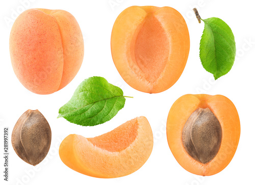 Fotografía Isolated apricots collection