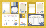 Fototapeta Dinusie - Set of planners with cute dinosaurs in Scandinavian style. Cute postcards, day planners, to-do list for print. Hand drawn doodle illustration of cute dino with cactus and trendy lettering.