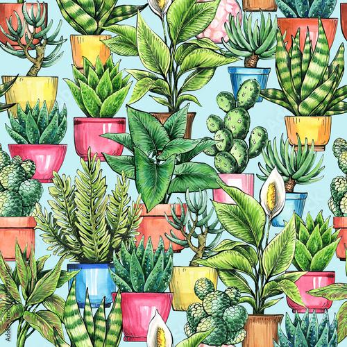 ilustracja-kwiatowy-wzor-rosliny-domowe-rysunek-z-akwarela-i-tuszem-projekt-opakowania-tapety-i-tkaniny