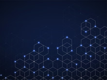 Abstract Geometric Background With Glowing Cubes. Futuristic Background