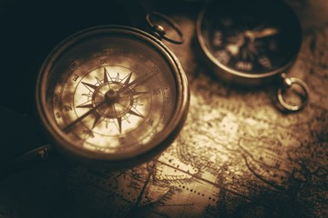 Aged Vintage Compass Map