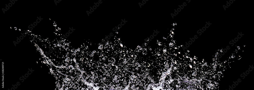 Fototapety, obrazy: Splashes and drops of water on a black background. Abstract or background image, selective focus. Banner