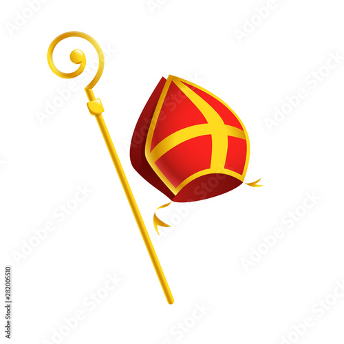 Photo Saint Nicholas or Sinterklaas attributes mitre and golden crosier stick - isolat
