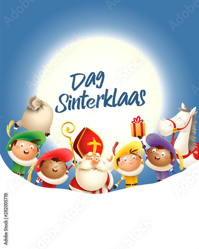 Cuadros en Lienzo Saint Nicholas and his friends celebrate holiday in front of moon - text Dag Sin