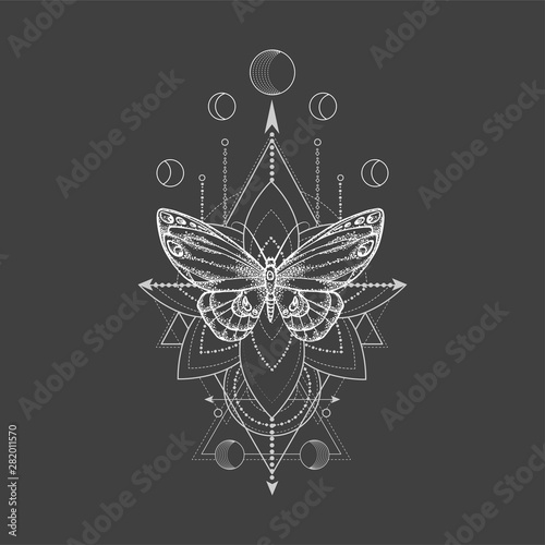 Photo sur Aluminium Style Boho Vector illustration with hand drawn butterfly and Sacred geometric symbol on black background. Abstract mystic sign.