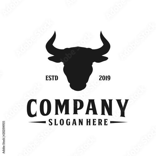 Minimalist cow / bull head silhouette logo design