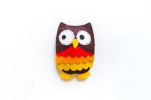 Owl Made Of Felt. Workshop Halloween