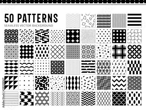 50種類のシンプルなモノクロパターン