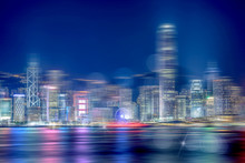 Abstract Bokeh Light With Hong Kong City Night View Background; Double Exposure