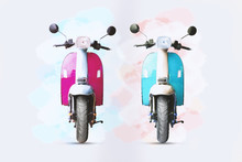 Watercolour Painting Of Pink And Blue Motorcycle On White Paper.