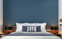 The Interior Design Of Modern Bedroom And Blue Wall Texture Background