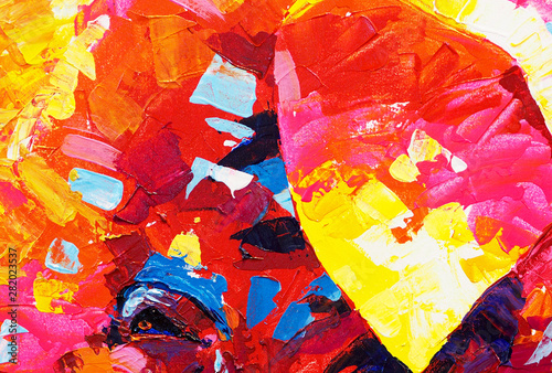 Fototapety, obrazy: Colorful oil painting brush stroke on canvas abstract background and texture