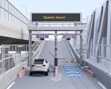 White SUV Passing Through Toll Gate Without Stop By ETC (Electronic Toll Collection System). 3D Rendering Image.