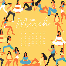 2020 Calendar With Group Of Young Women Isolated On Pastel Background : Vector Illustration