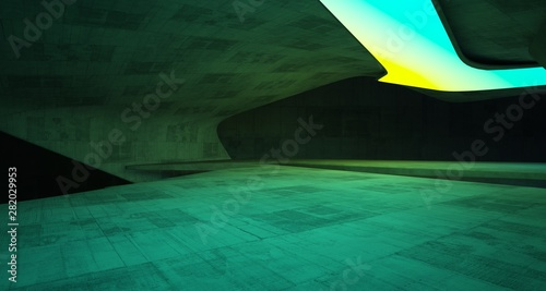 Aluminium Prints Violet Abstract architectural concrete smooth interior of a minimalist house with color gradient neon lighting. 3D illustration and rendering.