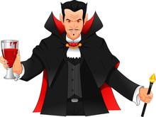 Young Man Wearing Dracula Costume