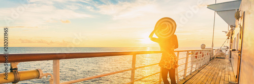 Cuadros en Lienzo  Cruise ship luxury vacation travel elegant woman watching sunset over Caribbean sea on deck boat summer tourist destination panoramic banner