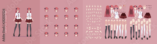 Anime manga girl character animation motion design Canvas Print