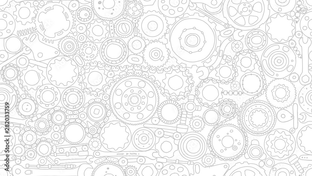Fototapeta Auto spare parts and gears, seamless pattern for your design