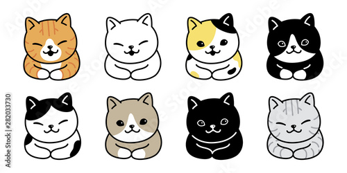 Tela cat vector kitten breed calico icon logo symbol cartoon character doodle illustr