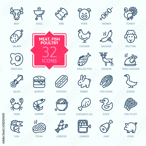 Photo  Meat, poultry, fish and eggs - minimal thin line web icon set