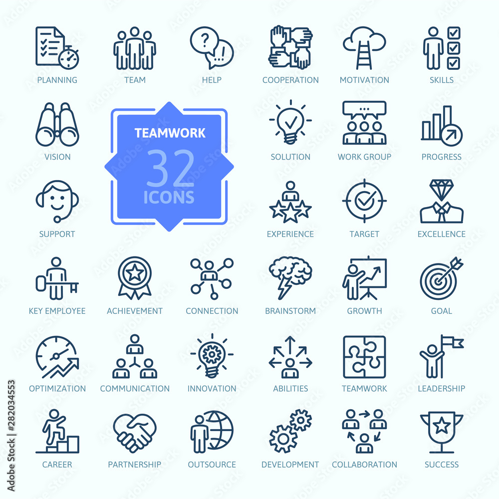 Fototapeta Business teamwork, team building, work group and human resources minimal thin line  web icon set. Outline icons collection. Simple vector illustration.
