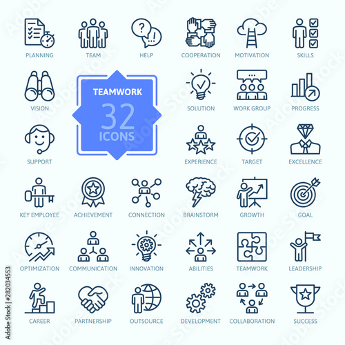 Fototapeta Business teamwork, team building, work group and human resources minimal thin line  web icon set. Outline icons collection. Simple vector illustration. obraz