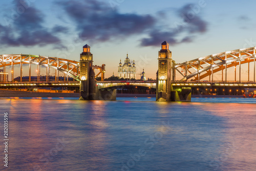Fototapety, obrazy: Bolsheokhtinsky bridge and old Smolny Cathedral on a white night. Saint-Petersburg, Russia