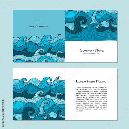 Fotomurales - Book cover design. Sea waves background