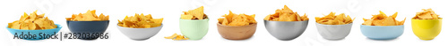 Set of delicious Mexican nachos chips on white background. Banner design