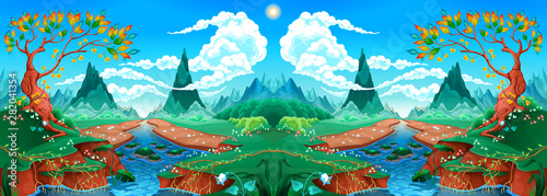 Keuken foto achterwand Kinderkamer Natural landscape with river, tree and mountains