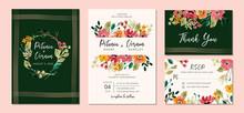 Wedding Invitation Suite With Floral Garden Watercolor