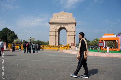 Thai women travel and posing take photo india Gate originally called the All Ind Canvas Print