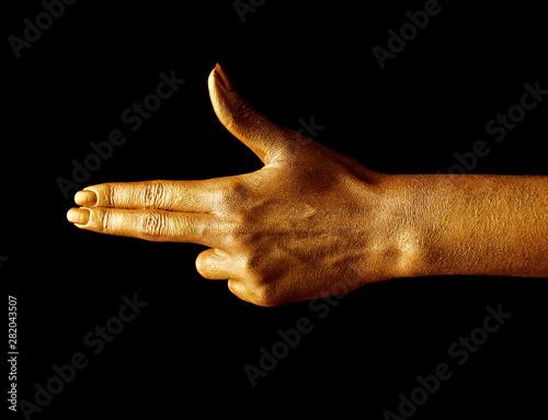 Fotografie, Tablou  Hands in gold paint