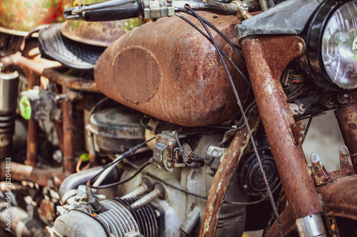 old, rusty american vietnam war motorcycle Canvas Print