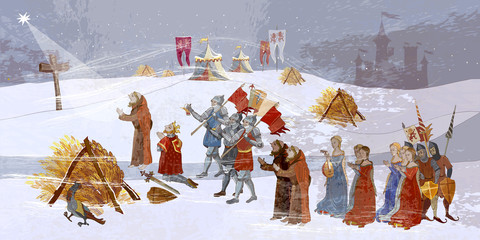 Medieval scene. King queen pray, miracle phenomenon. Priests and soldiers pro...