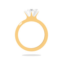 Diamond Ring Engagement Ring Gold Illustration Vector
