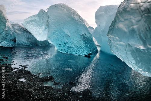 Iceberg at crystal black beach in south Iceland, Jokulsarlon Glacial Lagoon