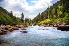 The Krimmler Ache River In The High Tauern National Park, Austria