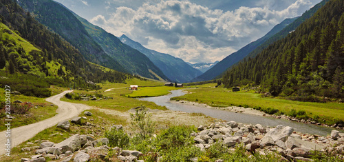 Printed kitchen splashbacks Forest river The Krimmler Ache river in the High Tauern National Park, Austria