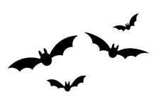 Bats Icon Set. Bat Black Silho...