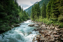 The Krimml Waterfalls In The High Tauern National Park,