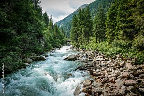 Printed kitchen splashbacks Forest river The Krimml Waterfalls in the High Tauern National Park,