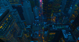 Fototapeta Nowy Jork - New York City Manhattan usa midtown aerial panorama view with skyscrapers and blue sky.2019