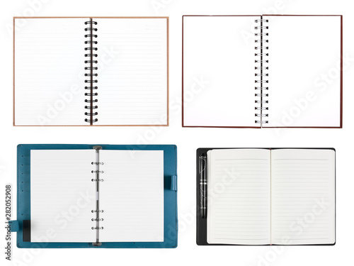 many and multi empty open diary or notebook and book with blank white paper and Canvas Print