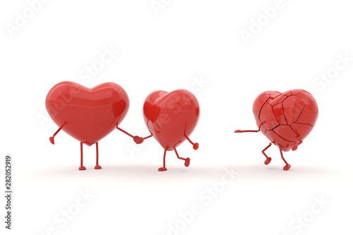 Heart model with heartbroken concepts. 3D rendering. Fototapet