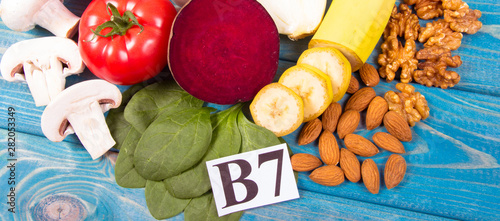 Healthy products and ingredients as source vitamin B7 (biotin), dietary fiber and natural minerals, concept of nutritious eating Fototapeta