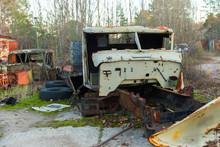 Abandoned Truck Left Outside At Chernobyl Fire Station